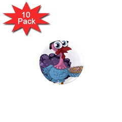 Turkey Animal Pie Tongue Feathers 1  Mini Magnet (10 Pack)