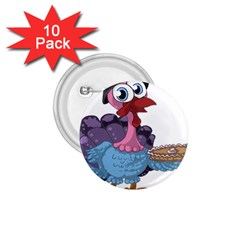 Turkey Animal Pie Tongue Feathers 1 75  Buttons (10 Pack)