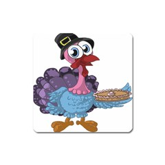 Turkey Animal Pie Tongue Feathers Square Magnet