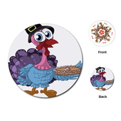 Turkey Animal Pie Tongue Feathers Playing Cards (round)  by Nexatart
