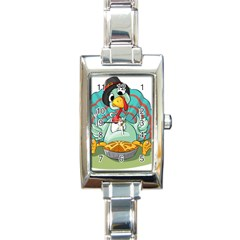 Pie Turkey Eating Fork Knife Hat Rectangle Italian Charm Watch by Nexatart