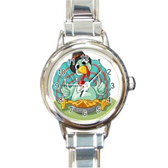 Pie Turkey Eating Fork Knife Hat Round Italian Charm Watch