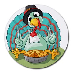 Pie Turkey Eating Fork Knife Hat Round Mousepads by Nexatart