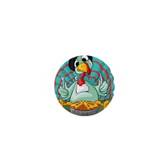 Pie Turkey Eating Fork Knife Hat 1  Mini Buttons by Nexatart