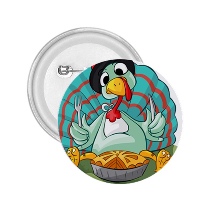 Pie Turkey Eating Fork Knife Hat 2.25  Buttons