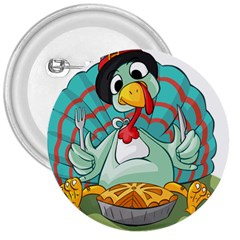 Pie Turkey Eating Fork Knife Hat 3  Buttons by Nexatart