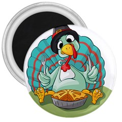 Pie Turkey Eating Fork Knife Hat 3  Magnets by Nexatart