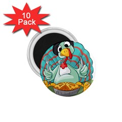 Pie Turkey Eating Fork Knife Hat 1 75  Magnets (10 Pack)  by Nexatart