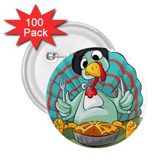 Pie Turkey Eating Fork Knife Hat 2 25  Buttons (100 Pack)  by Nexatart