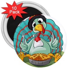Pie Turkey Eating Fork Knife Hat 3  Magnets (10 Pack)  by Nexatart