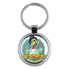 Pie Turkey Eating Fork Knife Hat Key Chains (round)  by Nexatart