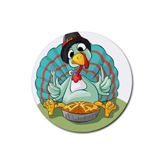 Pie Turkey Eating Fork Knife Hat Rubber Coaster (round)  by Nexatart