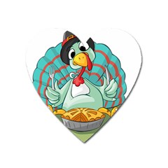 Pie Turkey Eating Fork Knife Hat Heart Magnet by Nexatart