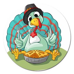 Pie Turkey Eating Fork Knife Hat Magnet 5  (round) by Nexatart