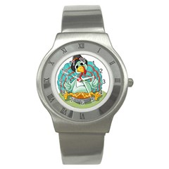 Pie Turkey Eating Fork Knife Hat Stainless Steel Watch by Nexatart