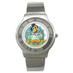 Pie Turkey Eating Fork Knife Hat Stainless Steel Watch Front