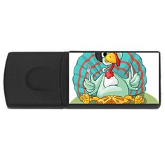 Pie Turkey Eating Fork Knife Hat Rectangular Usb Flash Drive
