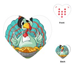 Pie Turkey Eating Fork Knife Hat Playing Cards (heart)  by Nexatart