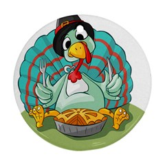 Pie Turkey Eating Fork Knife Hat Round Ornament (two Sides) by Nexatart