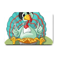 Pie Turkey Eating Fork Knife Hat Small Doormat  by Nexatart
