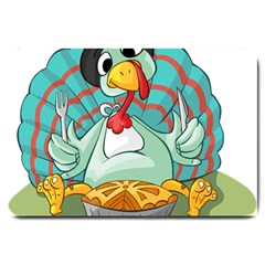 Pie Turkey Eating Fork Knife Hat Large Doormat  by Nexatart