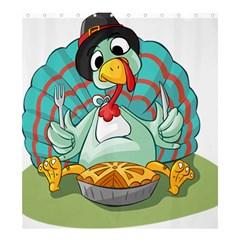 Pie Turkey Eating Fork Knife Hat Shower Curtain 66  X 72  (large)  by Nexatart