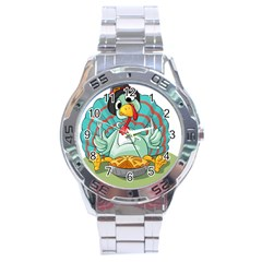 Pie Turkey Eating Fork Knife Hat Stainless Steel Analogue Watch by Nexatart
