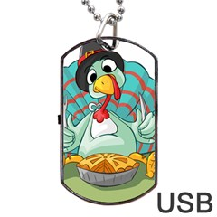 Pie Turkey Eating Fork Knife Hat Dog Tag Usb Flash (two Sides)