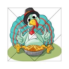 Pie Turkey Eating Fork Knife Hat Acrylic Tangram Puzzle (6  X 6 ) by Nexatart