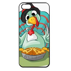 Pie Turkey Eating Fork Knife Hat Apple Iphone 5 Seamless Case (black) by Nexatart