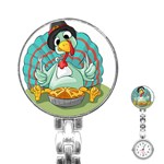 Pie Turkey Eating Fork Knife Hat Stainless Steel Nurses Watch Front