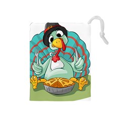 Pie Turkey Eating Fork Knife Hat Drawstring Pouches (medium)  by Nexatart