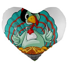 Pie Turkey Eating Fork Knife Hat Large 19  Premium Flano Heart Shape Cushions