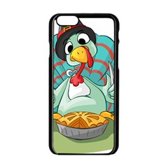 Pie Turkey Eating Fork Knife Hat Apple Iphone 6/6s Black Enamel Case