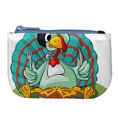 Pie Turkey Eating Fork Knife Hat Large Coin Purse by Nexatart