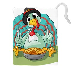 Pie Turkey Eating Fork Knife Hat Drawstring Pouches (xxl) by Nexatart