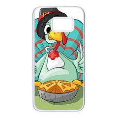 Pie Turkey Eating Fork Knife Hat Samsung Galaxy S7 White Seamless Case by Nexatart