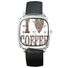 Love Heart Romance Passion Square Metal Watch