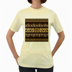 Giraffe African Vector Pattern Women s Yellow T Shirt