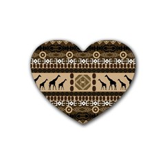 Giraffe African Vector Pattern Heart Coaster (4 Pack)