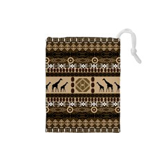 Giraffe African Vector Pattern Drawstring Pouches (small)