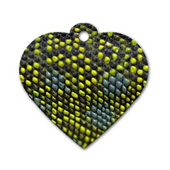 Lizard Animal Skin Dog Tag Heart (two Sides)