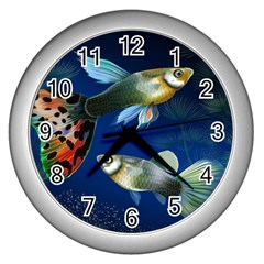 Marine Fishes Wall Clocks (silver)