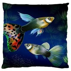 Marine Fishes Large Flano Cushion Case (two Sides)