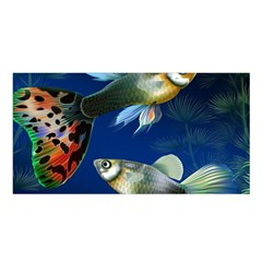 Marine Fishes Satin Shawl