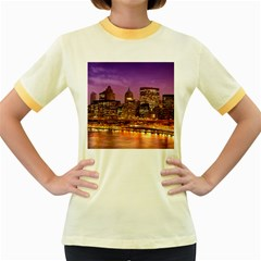 City Night Women s Fitted Ringer T Shirts