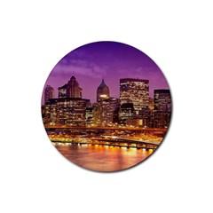 City Night Rubber Round Coaster (4 Pack)