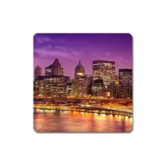 City Night Square Magnet