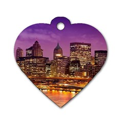 City Night Dog Tag Heart (two Sides)