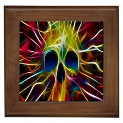 Skulls Multicolor Fractalius Colors Colorful Framed Tiles by BangZart